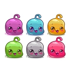 Cute cartoon colorful kawaii characters set vector