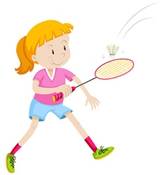 Girl with badminton racket and birdie vector