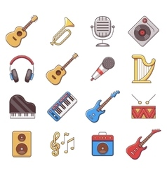 Linear music instruments color flat icons vector image