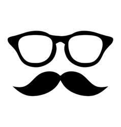 Classic frame glasses with mustache vector