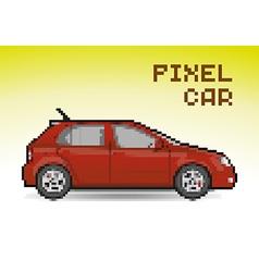 Red pixel car vector