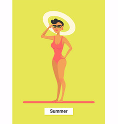 A respectable woman in red bikini on a beach vector