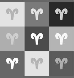 Aries sign grayscale version vector