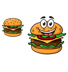 Cartoon cheeseburger with a laughing face vector
