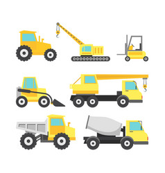 Cartoon construction machinery color icons set vector