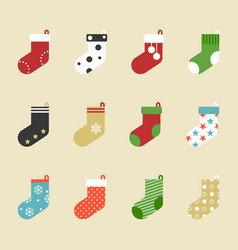 colorful socks icon collection for christmas vector image vector image