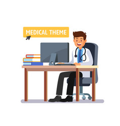 doctor sitting at the table working on computer vector image