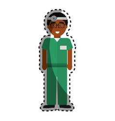 Doctor with medical glasses and reflector vector