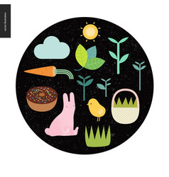 easter elements on the black round background vector image