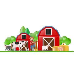 farm scene with farmer and many animals vector image