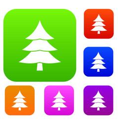 Fir tree set collection vector