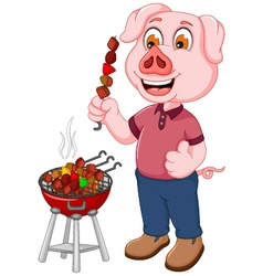funny pig cartoon making satay vector image vector image