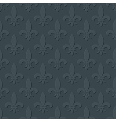 Gray fleur de lis royal lily seamless pattern vector image