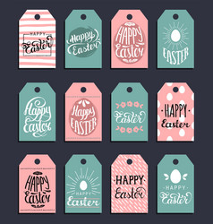 happy easter hand lettering greeting cards vector image