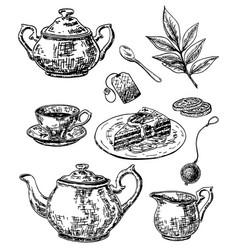 ink hand drawn sketch style tea set vector image vector image