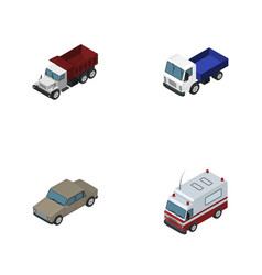 Isometric car set of freight lorry first-aid and vector