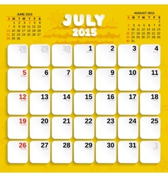 July Month Calendar 2015 vector image vector image