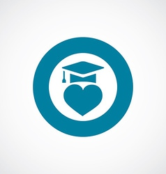 Love education icon bold blue circle border vector
