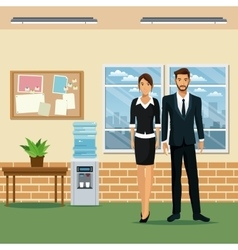 Man and woman office work place table plant pot vector