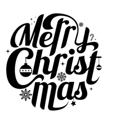 Merry christmas lettering text white background vector