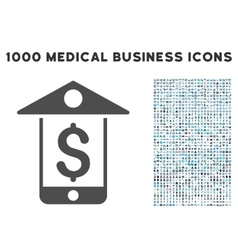 Mobile Bank Icon with 1000 Medical Business vector image vector image
