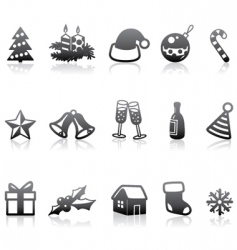 monochrome Christmas icons vector image vector image