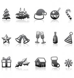 monochrome Christmas icons vector image