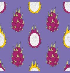pitaya exotic fruit seamless pattern vector image