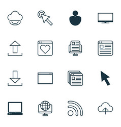 set of 16 internet icons includes human cursor vector image vector image