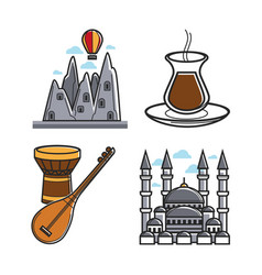 set of architecture and instruments vector image vector image