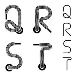 Shoe lace alphabet letters q r s t vector