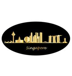 Singapore city skyine gold text vector