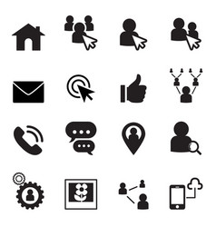 social network icon set vector image vector image