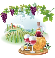 Wine glasses bottle and ripe grapes in vineyard vector image vector image