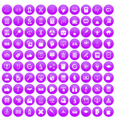 100 analytics icons set purple vector