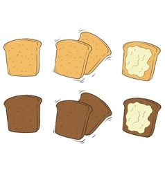 Cartoon set of tasty toasted bread with butter vector