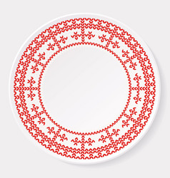 Knitted christmas ornament on plate vector