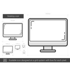 Desktop line icon vector