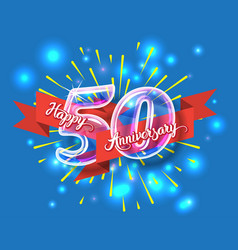 Happy 50th anniversary glass bulb numbers set vector