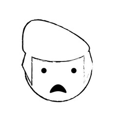 Skecth boy son sad face vector