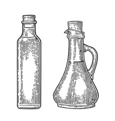 Bottle and jug glass of liquid with cork stopper vector