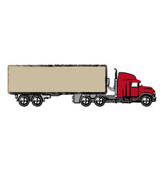 Truck cabin container transport business vector