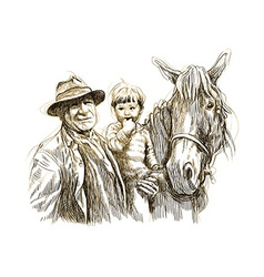 Old man and child and horse vector