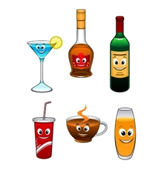 Drinks and beverage cartoon characters vector