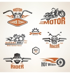Set of vintage motorcycle labels badges and design vector