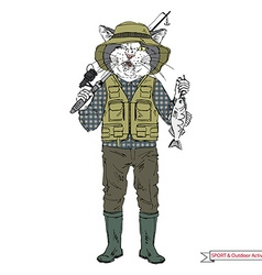 Cat fisherman sport and outdoor activity vector