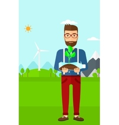 Man with plant growing in bottle vector