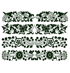 flower border element set vector image