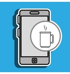 Smartphone blue cup coffee isolated icon design vector