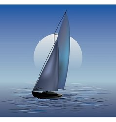 Sailing boat in moonrise vector image